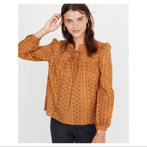 Madewell Eyelet Double-Tie Peasant Top Small